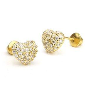 14k Gold Domed Heart Pave Girls Earrings